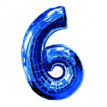Фольгированная цифра 6 синяя (102 см)