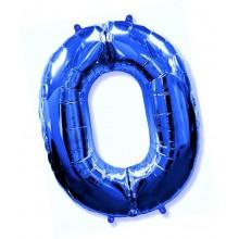 Фольгированная цифра 0 синяя (102 см)