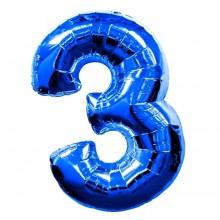 Фольгированная цифра 3 синяя (102 см)