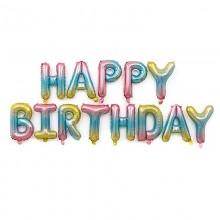 Фольгированные буквы-шары Happy Birthday (многоцветные)