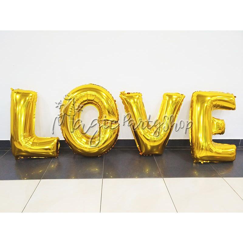 Фольгированные буквы-шары LOVE золото (55 см)