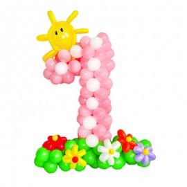 Цифра 1 из шаров для девочки с полянкой