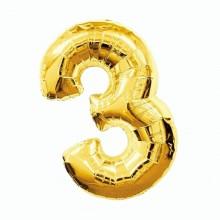 Фольгированная цифра 3 золото (102 см)