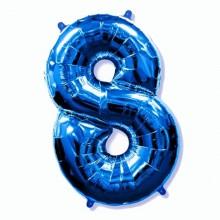 Фольгированная цифра 8 синяя (102 см)