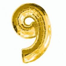 Фольгированная цифра 9 золото (102 см)