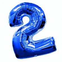 Фольгированная цифра 2 синяя (102 см)