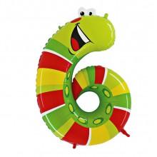Шар цифра-зверушка 6 (Червячок)