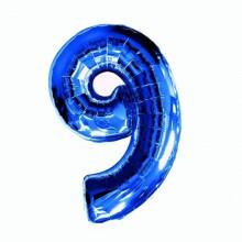 Фольгированная цифра 9 синяя (102 см)