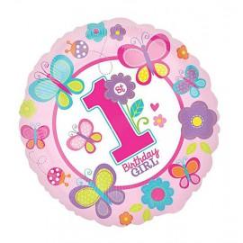 Фольгированный шар 1 год (девочка)