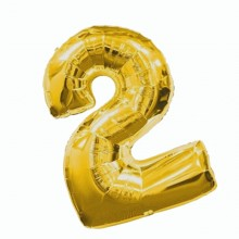 Фольгированная цифра 2 золото (102 см)