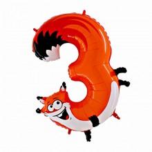 Шар цифра-зверушка 3 (Лисичка)
