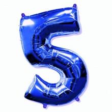 Фольгированная цифра 5 синяя (102 см)