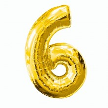 Фольгированная цифра 6 золото (102 см)