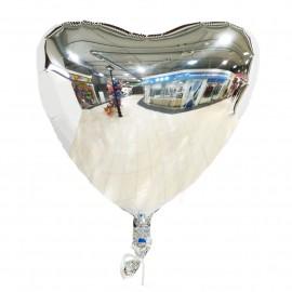 Фольгированный шар сердце серебро