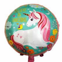 Фольгированный шар круг Единорог с птичкой