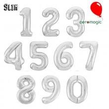 Фольгированная цифра Slim 0-9 серебро (100 см)
