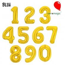 Фольгированная цифра Slim 0-9 золото (100 см)