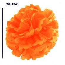 Помпоны бумажные оранжевый цвет 20 см (5 шт)