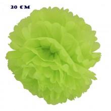 Помпоны бумажные зеленый цвет 20 см (5 шт)