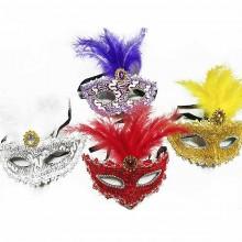 Маска карнавальная Премиум с перьями
