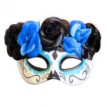 Маска на Хэллоуин День мертвых синяя