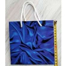 Пакет подарочный тип Чашка синий 160х160х80