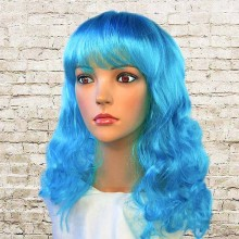 Парик волнистый голубые волосы
