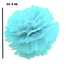 Помпоны бумажные голубой цвет 20 см (5 шт)