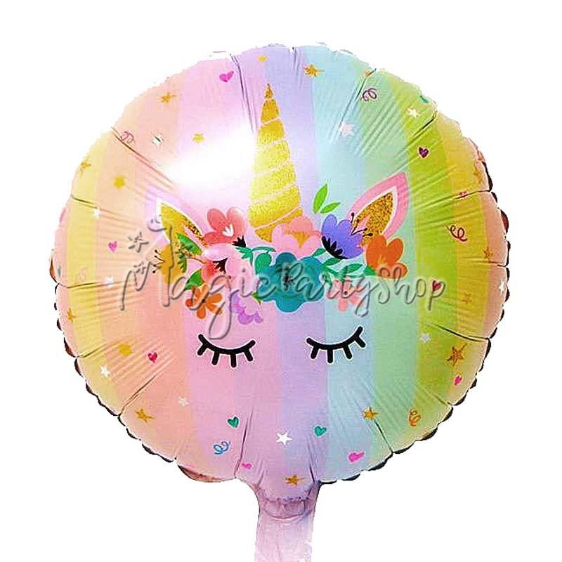 Фольгированный шар круг Единорог