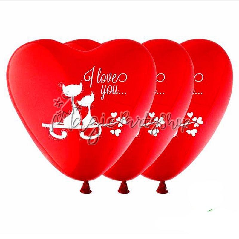 Набор шаров-сердечек Влюбленные Котики 18 шт