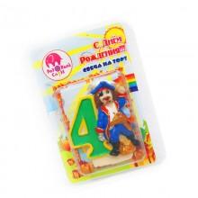 """Свеча в торт цифра """"4"""" с пиратом"""