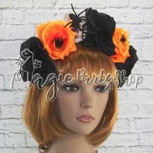 Обруч Черно-оранжевые цветы с черепом и пауком
